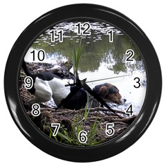 Treeing Walker Coonhound In Water Wall Clocks (Black)