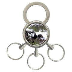 Treeing Walker Coonhound In Water 3-Ring Key Chains