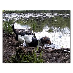 Treeing Walker Coonhound In Water Rectangular Jigsaw Puzzl