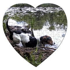 Treeing Walker Coonhound In Water Jigsaw Puzzle (Heart)