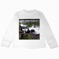 Treeing Walker Coonhound In Water Kids Long Sleeve T-Shirts