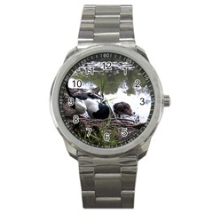 Treeing Walker Coonhound In Water Sport Metal Watch