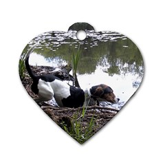 Treeing Walker Coonhound In Water Dog Tag Heart (Two Sides)