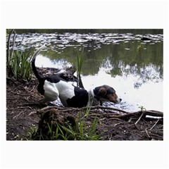 Treeing Walker Coonhound In Water Large Glasses Cloth (2-Side)