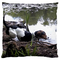 Treeing Walker Coonhound In Water Large Cushion Case (One Side)