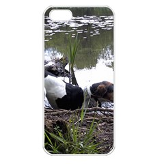 Treeing Walker Coonhound In Water Apple iPhone 5 Seamless Case (White)