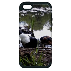 Treeing Walker Coonhound In Water Apple iPhone 5 Hardshell Case (PC+Silicone)