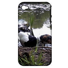 Treeing Walker Coonhound In Water Apple iPhone 4/4S Hardshell Case (PC+Silicone)