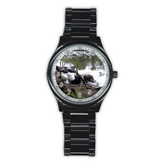 Treeing Walker Coonhound In Water Stainless Steel Round Watch
