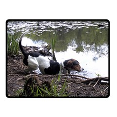 Treeing Walker Coonhound In Water Double Sided Fleece Blanket (Small)