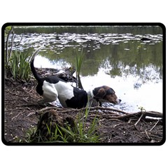Treeing Walker Coonhound In Water Double Sided Fleece Blanket (Large)