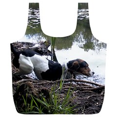 Treeing Walker Coonhound In Water Full Print Recycle Bags (L)
