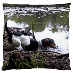 Treeing Walker Coonhound In Water Large Flano Cushion Case (Two Sides)