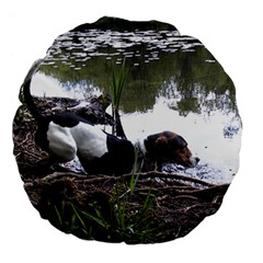 Treeing Walker Coonhound In Water Large 18  Premium Flano Round Cushions