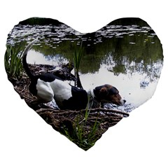 Treeing Walker Coonhound In Water Large 19  Premium Flano Heart Shape Cushions