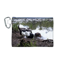 Treeing Walker Coonhound In Water Canvas Cosmetic Bag (M)