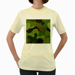 A Completely Seamless Tile Able Background Design Pattern Women s Yellow T Shirt