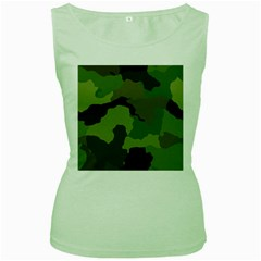 A Completely Seamless Tile Able Background Design Pattern Women s Green Tank Top