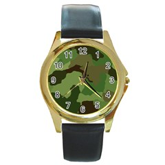 A Completely Seamless Tile Able Background Design Pattern Round Gold Metal Watch