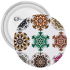 A Set Of 9 Nine Snowflakes On White 3  Buttons