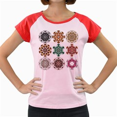 A Set Of 9 Nine Snowflakes On White Women s Cap Sleeve T-Shirt