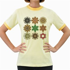 A Set Of 9 Nine Snowflakes On White Women s Fitted Ringer T Shirts