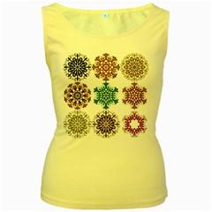 A Set Of 9 Nine Snowflakes On White Women s Yellow Tank Top