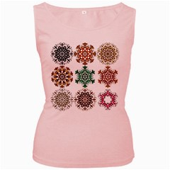 A Set Of 9 Nine Snowflakes On White Women s Pink Tank Top