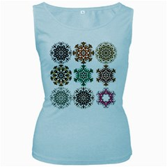 A Set Of 9 Nine Snowflakes On White Women s Baby Blue Tank Top