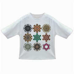 A Set Of 9 Nine Snowflakes On White Infant/toddler T Shirts