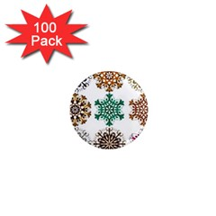 A Set Of 9 Nine Snowflakes On White 1  Mini Magnets (100 Pack)