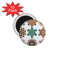 A Set Of 9 Nine Snowflakes On White 1 75  Magnets (10 Pack)