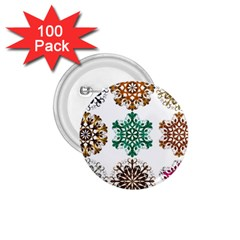 A Set Of 9 Nine Snowflakes On White 1 75  Buttons (100 Pack)