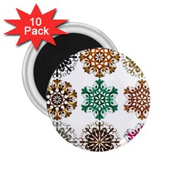 A Set Of 9 Nine Snowflakes On White 2 25  Magnets (10 Pack)
