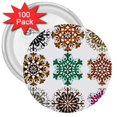 A Set Of 9 Nine Snowflakes On White 3  Buttons (100 Pack)