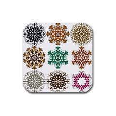 A Set Of 9 Nine Snowflakes On White Rubber Coaster (Square)