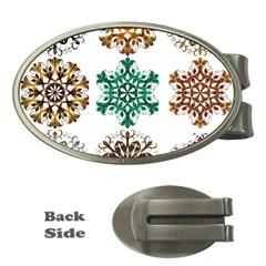 A Set Of 9 Nine Snowflakes On White Money Clips (oval)
