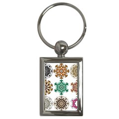 A Set Of 9 Nine Snowflakes On White Key Chains (rectangle)