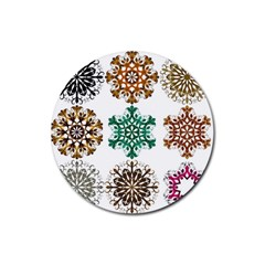 A Set Of 9 Nine Snowflakes On White Rubber Round Coaster (4 Pack)