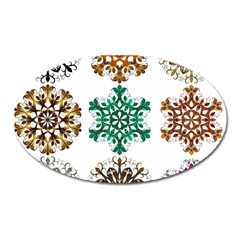 A Set Of 9 Nine Snowflakes On White Oval Magnet