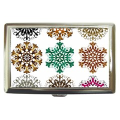 A Set Of 9 Nine Snowflakes On White Cigarette Money Cases