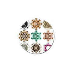 A Set Of 9 Nine Snowflakes On White Golf Ball Marker (10 Pack)