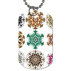 A Set Of 9 Nine Snowflakes On White Dog Tag (two Sides)