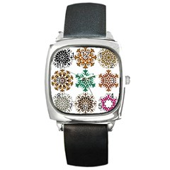 A Set Of 9 Nine Snowflakes On White Square Metal Watch