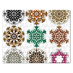 A Set Of 9 Nine Snowflakes On White Rectangular Jigsaw Puzzl