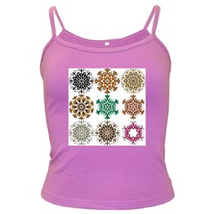 A Set Of 9 Nine Snowflakes On White Dark Spaghetti Tank