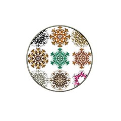 A Set Of 9 Nine Snowflakes On White Hat Clip Ball Marker (4 Pack)