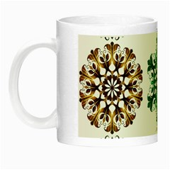 A Set Of 9 Nine Snowflakes On White Night Luminous Mugs