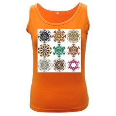A Set Of 9 Nine Snowflakes On White Women s Dark Tank Top
