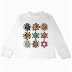 A Set Of 9 Nine Snowflakes On White Kids Long Sleeve T Shirts